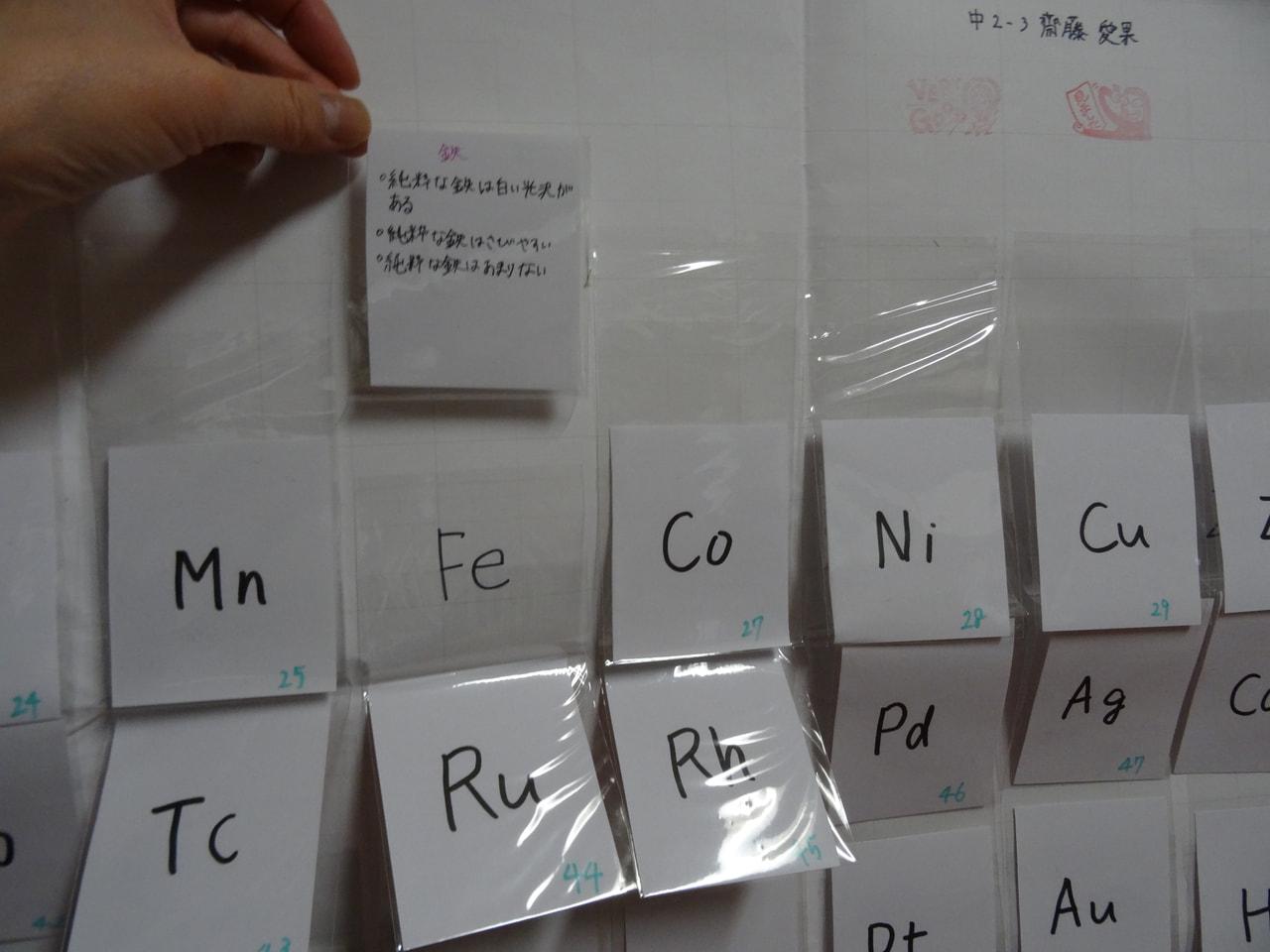 【中2】理科Ⅰ課題 周期表の作成